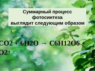 6СО2 + 6Н2О → С6Н12О6 + 6О2↑  Суммарный процесс фотосинтеза выглядит следу