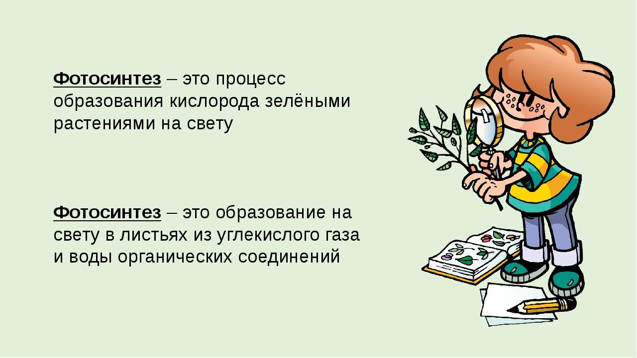 Фотосинтез – это процесс образования кислорода зелёными растениями на свету Ф...