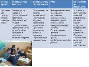 Этапы урока: Деятельность учителя Деятельность обучающихся УУД Планируемые р