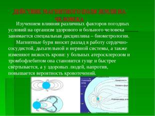 Изучением влияния различных факторов погодных условий на организм здорового