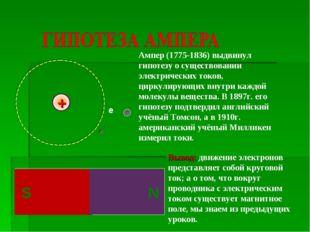 Вывод: движение электронов представляет собой круговой ток; а о том, что вокр