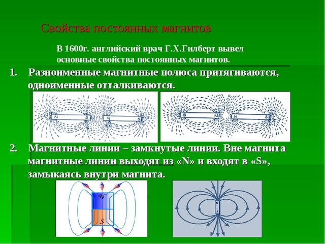 Свойства постоянных магнитов 1. Разноименные магнитные полюса притягиваются,...