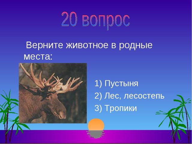 Верните животное в родные места: 1) Пустыня 2) Лес, лесостепь 3) Тропики