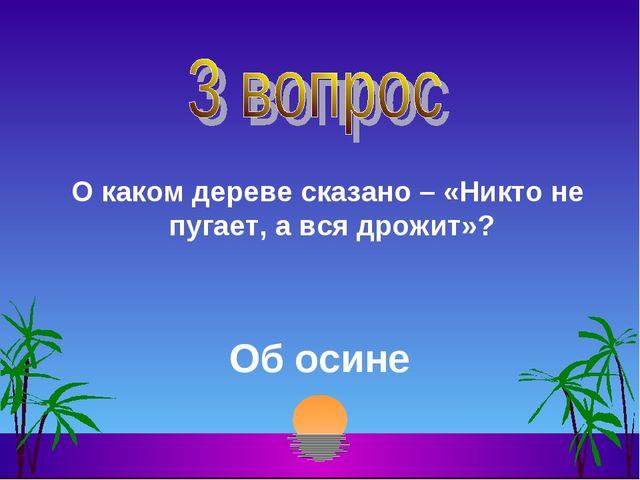 О каком дереве сказано – «Никто не пугает, а вся дрожит»? Об осине
