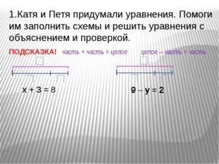 х + 3 = 8 1.Катя и Петя придумали уравнения. Помоги им заполнить схемы и реши