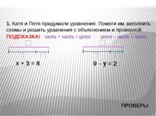 х + 3 = 8 1. Катя и Петя придумали уравнения. Помоги им заполнить схемы и реш
