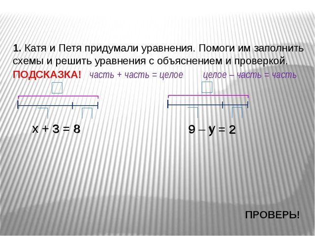 х + 3 = 8 1. Катя и Петя придумали уравнения. Помоги им заполнить схемы и реш...