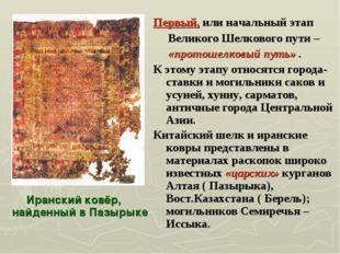 Иранский ковёр, найденный в Пазырыке Первый, или начальный этап Великого Шелк