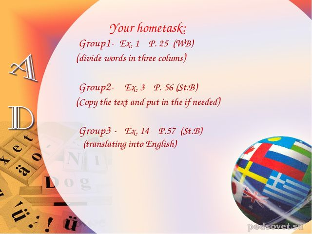 Your hometask: Group1- Ex. 1 P. 25 (WB) (divide words in three colums) Group...
