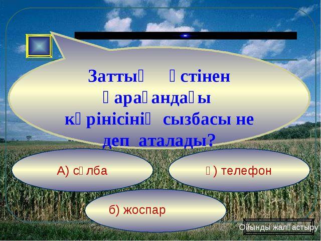 б) жоспар ә) телефон А) сұлба Заттың үстінен қарағандағы көрінісінің сызбасы...