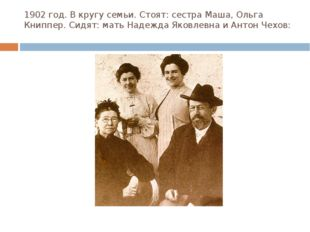 1902 год. В кругу семьи. Стоят: сестра Маша, Ольга Книппер. Сидят: мать Надеж