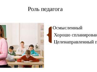 Роль педагога Осмысленный Хорошо спланированный Целенаправленный процесс