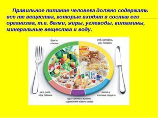 Правильное питаниечеловека должно содержать все те вещества, которые входя