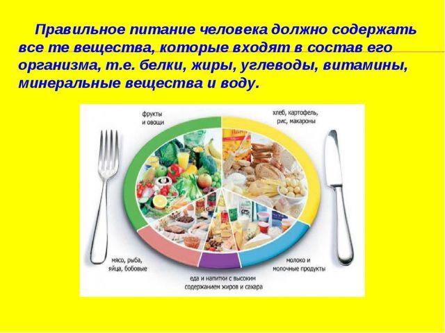 Правильное питаниечеловека должно содержать все те вещества, которые входя...