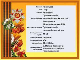 Фамилия Иванишко Имя Петр Отчество Иванович Место рождения Орловская обл.,Нов