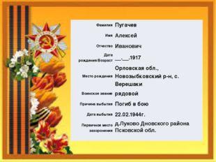Фамилия Пугачев Имя Алексей Отчество Иванович Дата рождения/Возраст __.__.191