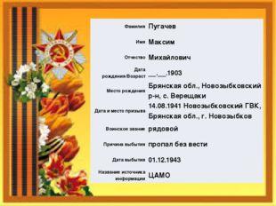 Фамилия Пугачев Имя Максим Отчество Михайлович Дата рождения/Возраст __.__.19