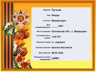 Фамилия Пугачев Имя Федор Отчество Михайлович Дата рождения/Возраст __.__.190