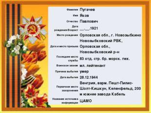 Фамилия Пугачев Имя Яков Отчество Павлович Дата рождения/Возраст __.__.1921 М