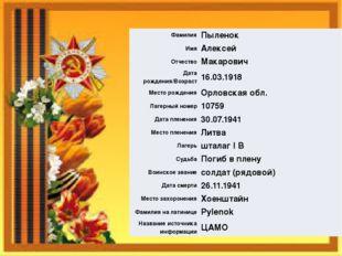 Фамилия Пыленок Имя Алексей Отчество Макарович Дата рождения/Возраст 16.03.19