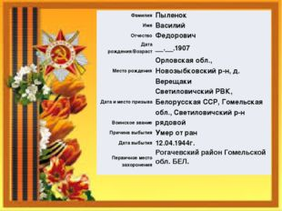 Фамилия Пыленок Имя Василий Отчество Федорович Дата рождения/Возраст __.__.19