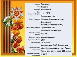 Фамилия Пыленок Имя Максим Отчество Назарович Дата рождения/Возраст __.__.191