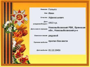 Фамилия Голыго Имя Иван Отчество Афанасьевич Дата рождения/Возраст 1913 г.р.
