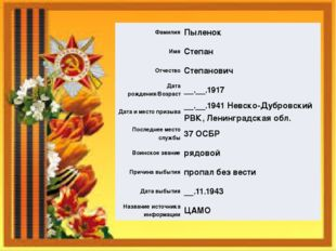 Фамилия Пыленок Имя Степан Отчество Степанович Дата рождения/Возраст __.__.19