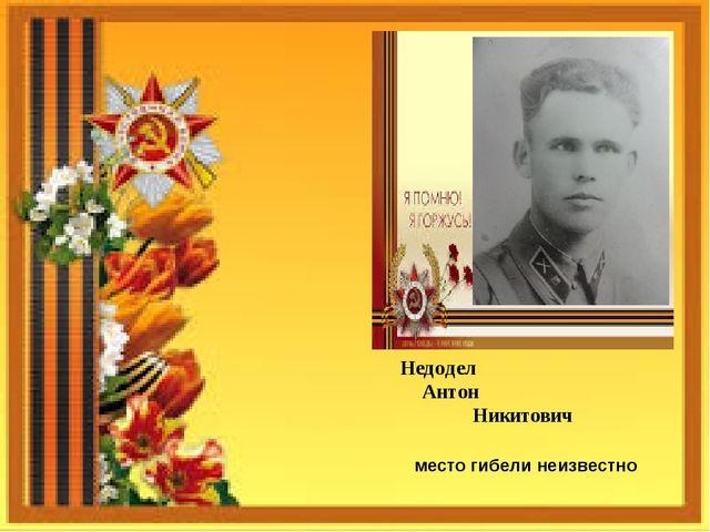 Недодел Антон Никитович место гибели неизвестно