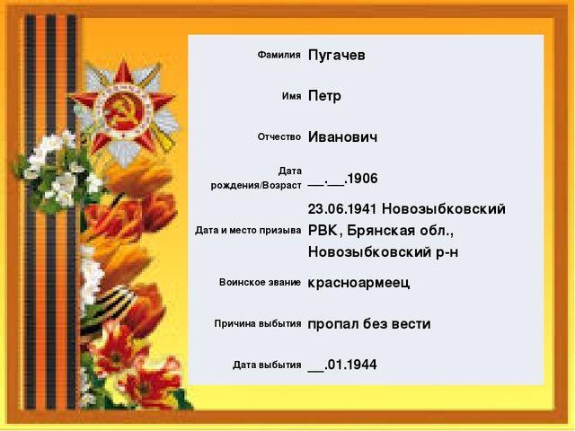 Фамилия Пугачев Имя Петр Отчество Иванович Дата рождения/Возраст __.__.1906 Д...