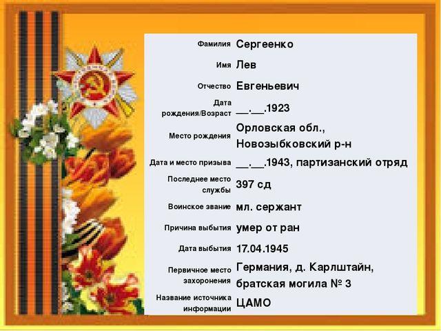 Фамилия Сергеенко Имя Лев Отчество Евгеньевич Дата рождения/Возраст __.__.192...