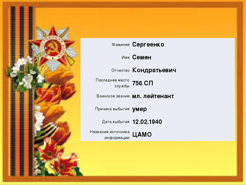 Фамилия Сергеенко Имя Семен Отчество Кондратьевич Последнее место службы 756...