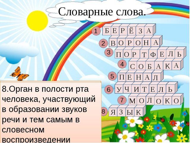 1.Лиственное дерево с белой корой. 1 8 7 6 5 4 3 2 Б Л О М Ь Л Е Т И Ч У Л А...