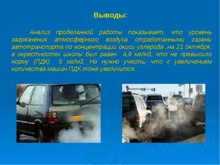 Выводы: Анализ проделанной работы показывает, что уровень загрязнения атмосфе