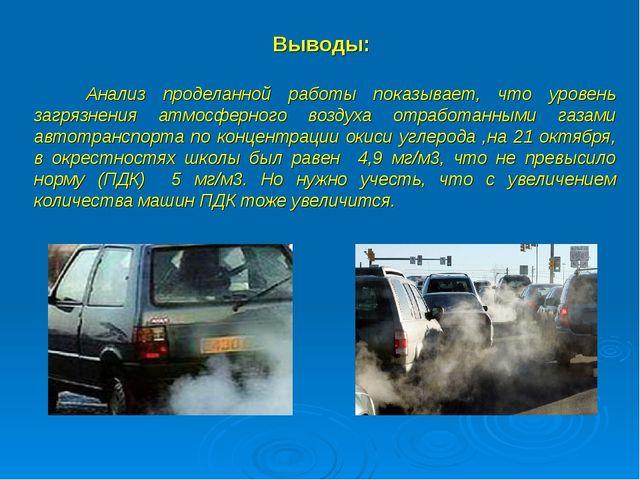 Выводы: Анализ проделанной работы показывает, что уровень загрязнения атмосфе...
