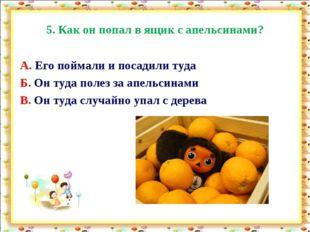 5. Как он попал в ящик с апельсинами? А. Его поймали и посадили туда Б. Он ту