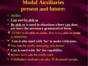 Modal Auxiliaries present and future: Ability Can and be able to Be able to i