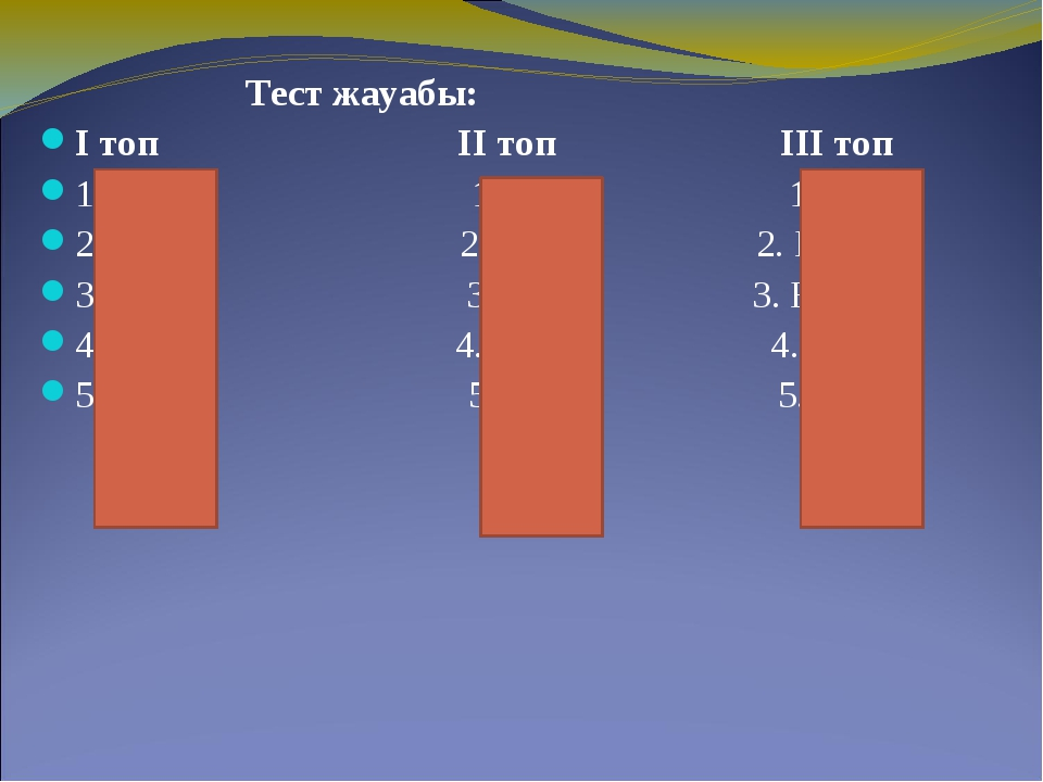 Тест жауабы: І топ ІІ топ ІІІ топ 1. В 1. А 1. В 2. А 2. Б 2. Б 3. Б 3. В 3....