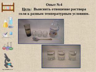 Опыт №4 Цель: Выяснить отношение раствора соли к разным температурным условия