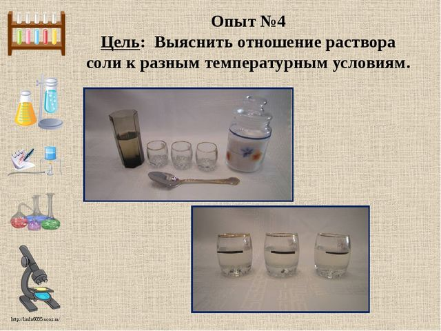 Опыт №4 Цель: Выяснить отношение раствора соли к разным температурным условия...