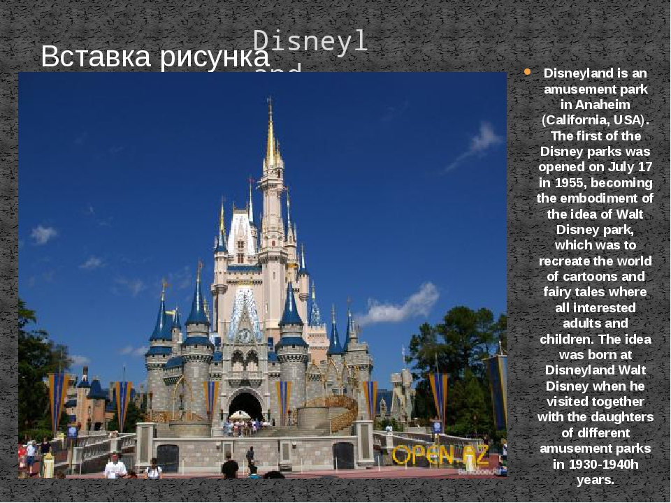 Disneyland Disneyland is an amusement park in Anaheim (California, USA). The...