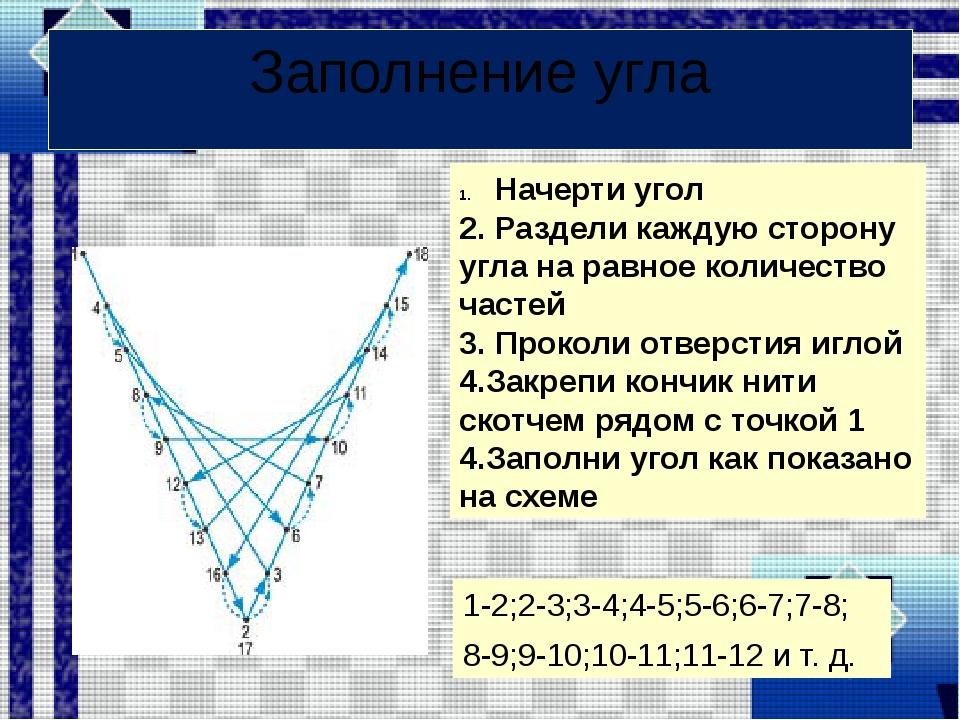 Заполнение угла 1-2;2-3;3-4;4-5;5-6;6-7;7-8; 8-9;9-10;10-11;11-12 и т. д. Нач...