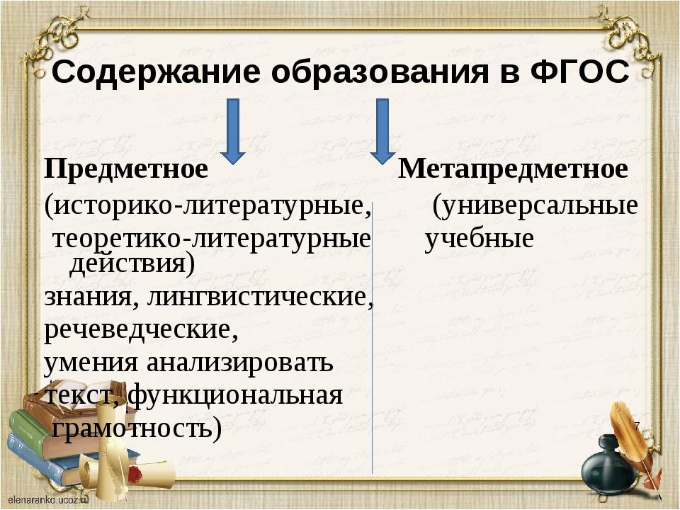 * Содержание образования в ФГОС Предметное Метапредметное (историко-литератур...