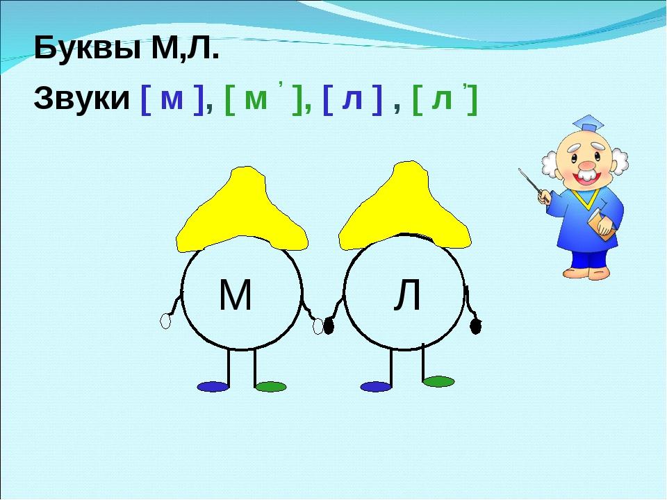 Буквы М,Л. Звуки [ м ], [ м , ], [ л ] , [ л ,] М Л