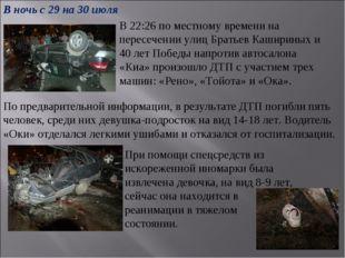 В 22:26 по местному времени на пересечении улиц Братьев Кашириных и 40 лет По