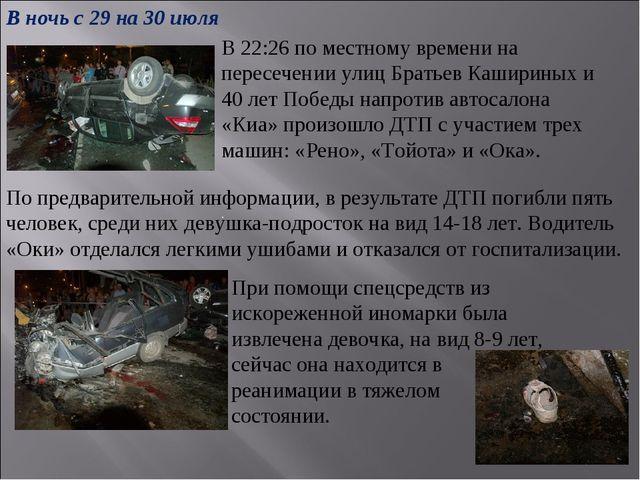 В 22:26 по местному времени на пересечении улиц Братьев Кашириных и 40 лет По...