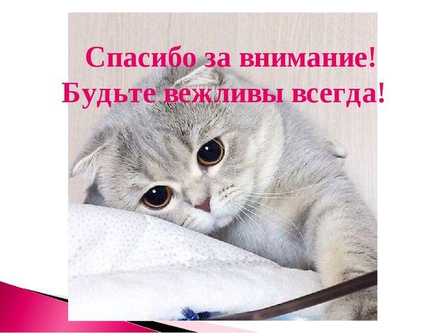 Спасибо за внимание! Будьте вежливы всегда!