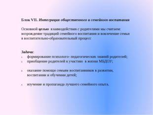Блок VII. Интеграция общественного и семейного воспитания Основной целью взаи