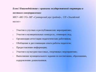 Блок I Взаимодействие с органами государственной структуры и местного самоупр