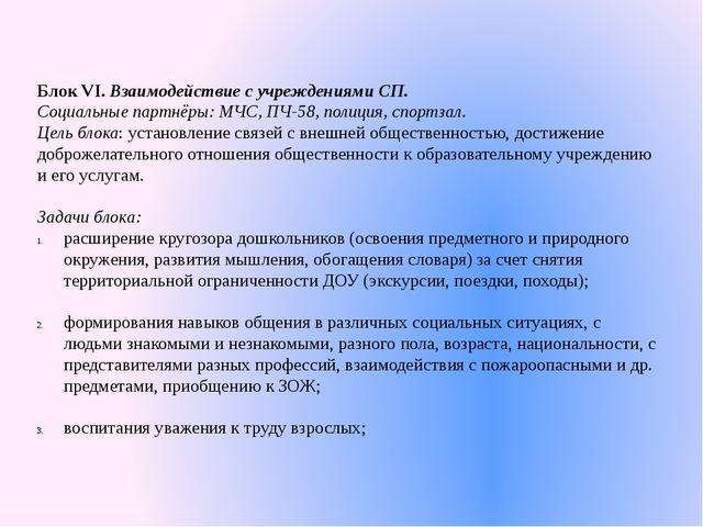 Блок VI. Взаимодействие с учреждениями СП. Социальные партнёры: МЧС, ПЧ-58, п...